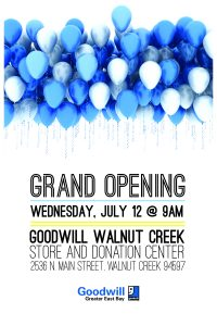 Walnut Creek Goodwill Grand Opening July 12